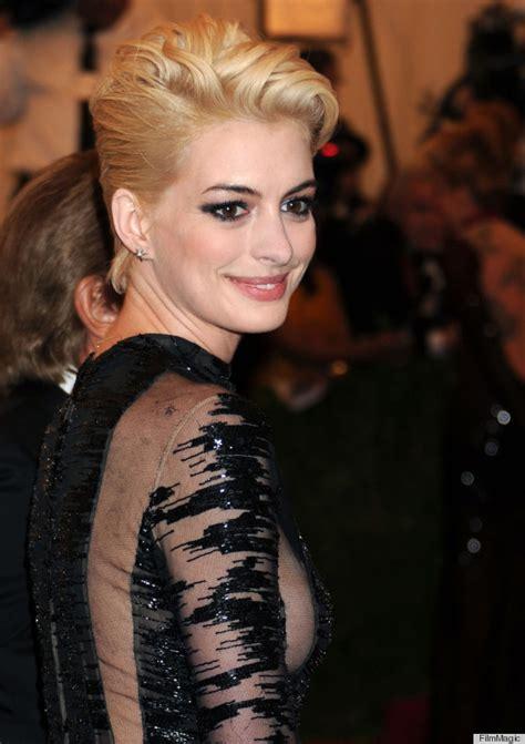 blonde to brunette pixie photos anne hathaway s blonde hair has taken an