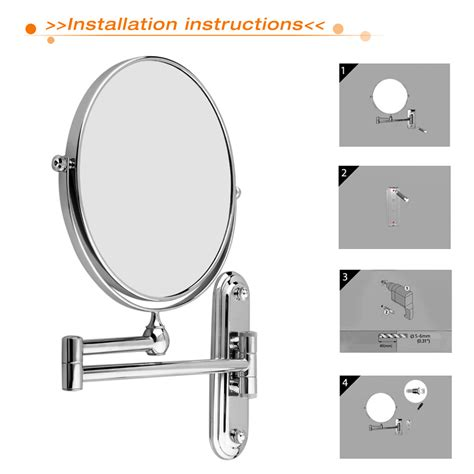 wall mounted lighted magnifying bathroom mirror pkgny com wall mounted bathroom folding extending arm makeup 10x
