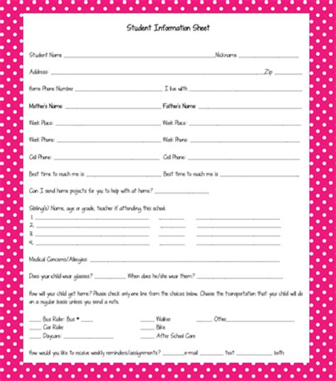 student information sheet template for teachers spark student motivation meet the