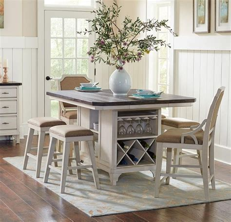 kitchen island table with 4 chairs avalon furniture mystic cay aval grp d00042 tbl 6 set1 kitchen island 4 backless stools 2