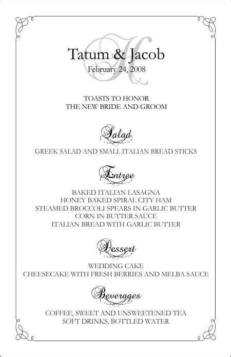 wedding menu template 5 wedding pinterest wedding