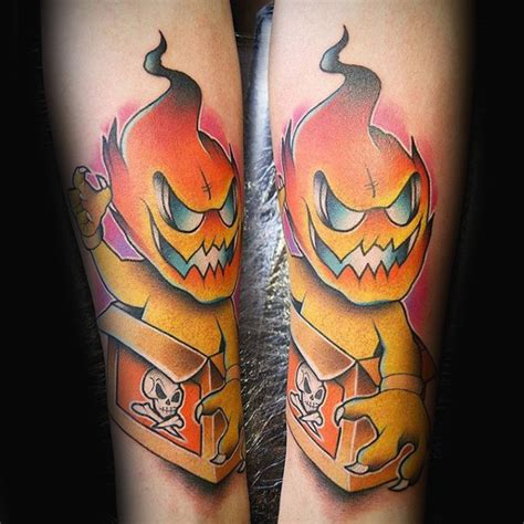 cartoon tattoo forearm 80 fire tattoos for men burning ink design ideas