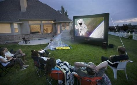 Proyektor Outdoor open air cinema home outdoor projection projector screen 12x7 ebay