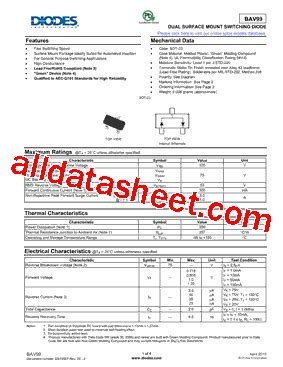diodes inc us1j 13 f bav99 13 f データシート pdf diodes incorporated
