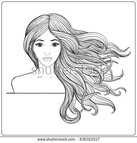 coloring pages of girl with long hair long hair female angel coloring coloring pages