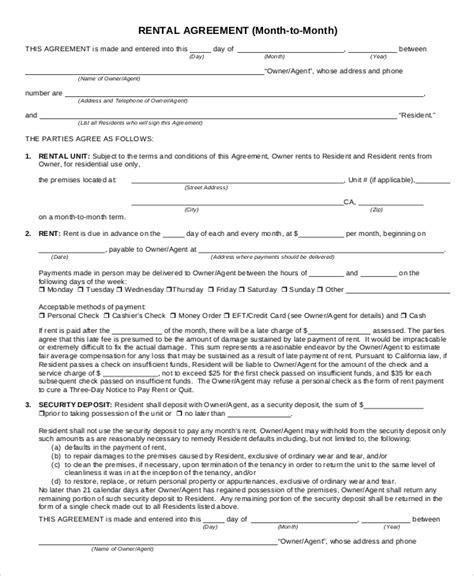 rental agreement forms sle rental agreement form 9 exles in pdf word