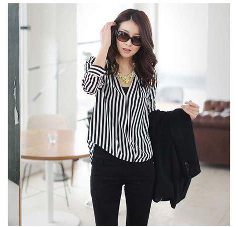 Mini Dress Kemeja Kerja Garis Lengan Panjang Baju Wanita Korea Import kemeja garis garis hitam putih cantik myrosefashion
