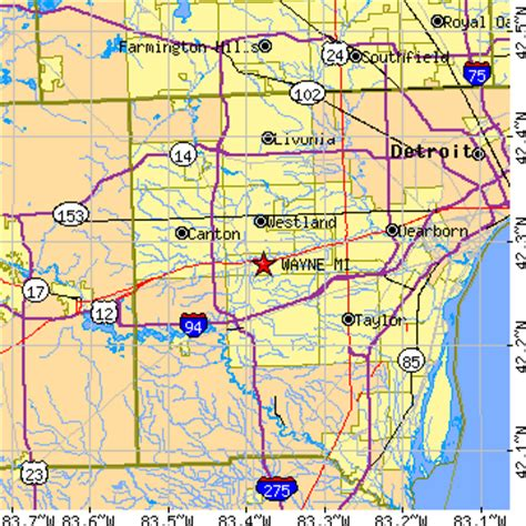 map of wayne county michigan wayne michigan mi population data races housing