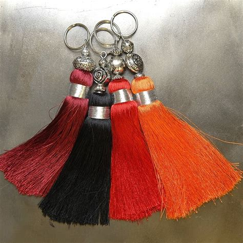 Handmade Tassels - reds handmade tassels key rings by skoura