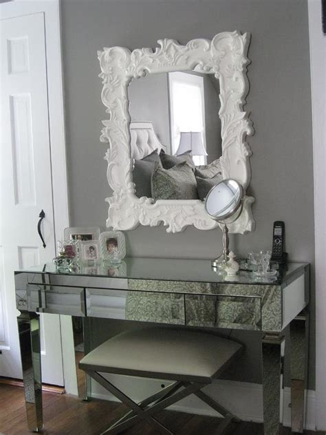 Grey Bedroom Vanity Mirrored Vanity Transitional Bedroom Benjamin