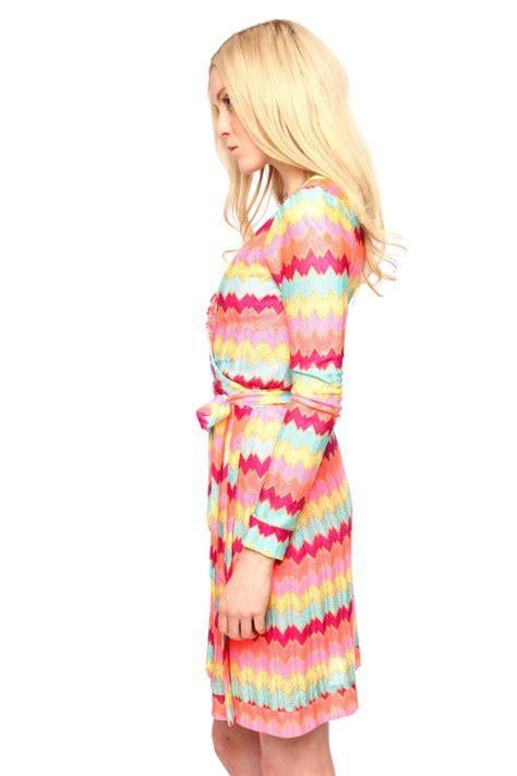 knit wrap dress rubber ducky chevron knit wrap dress from miami by