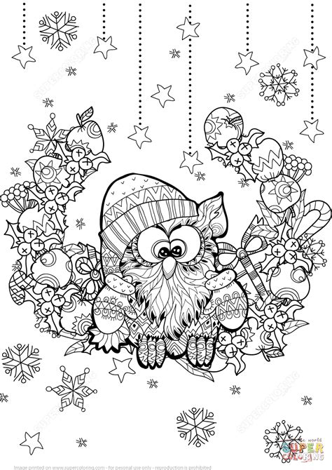 holiday owl coloring page christmas owl zentangle coloring page free printable
