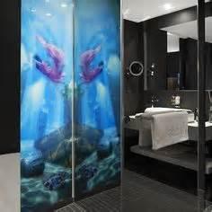 bedrucktes glas dusche raumabtrennung wohnung bad aus glas mit designmotiv