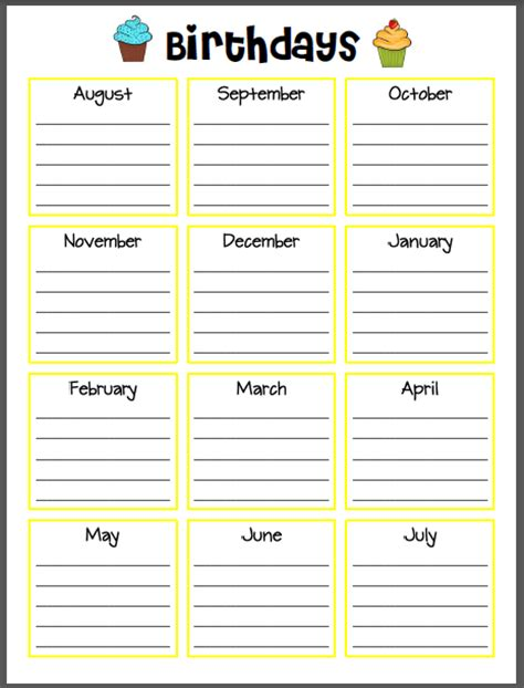 free birthday calendar template excel fillable birthday calendar calendar template 2016