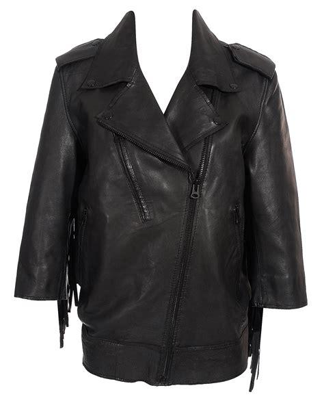 black leather jacket with fringe acne studios smith fringe leather jacket in black lyst