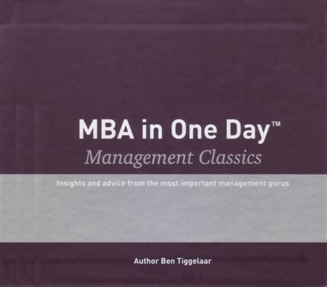 Mba In Management by Mba In One Day Management Classics Box With 10