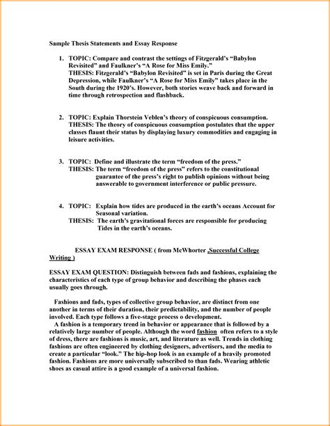 Statement Essay Exle by 7 Thesis Statement Exles For Essays Authorization Letter