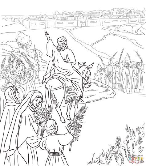 coloring pages jesus enters jerusalem triumphal entry into jerusalem coloring page free