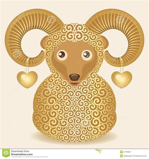 new year ram vector golden ram with hearts stock vector image of decorative