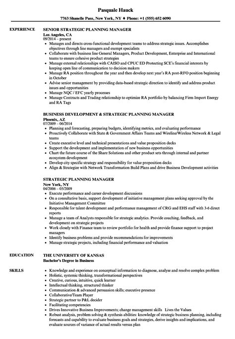 strategic planning resume exles strategic planning manager resume sles velvet
