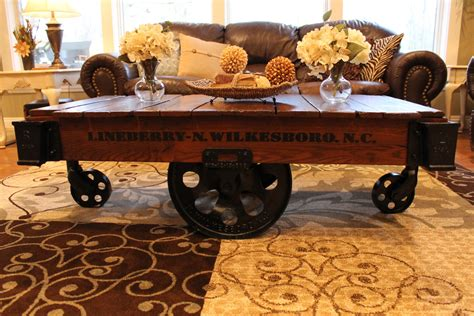 vintage restored lineberry factory cart coffee table