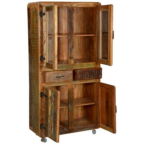 rustic buffet hutch pioneer rustic reclaimed wood 71 quot rolling hutch and buffet cabinet