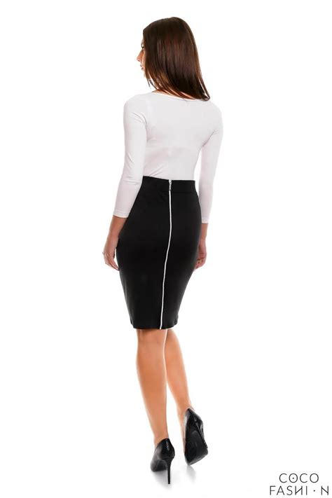 black pencil cut office style skirt