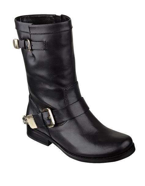 guess girton leather boots in black lyst