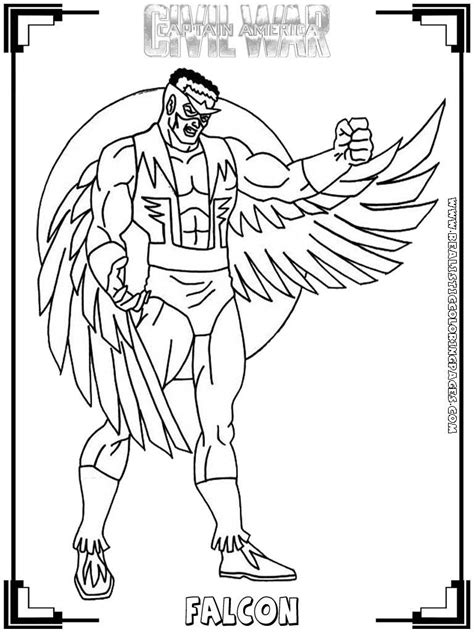 avengers coloring pages falcon captain america civil war printable coloring pages