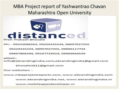 Mba Project Reports Free Pdf by Mba Project Report Of Yashwantrao Chavan Maharashtra Open