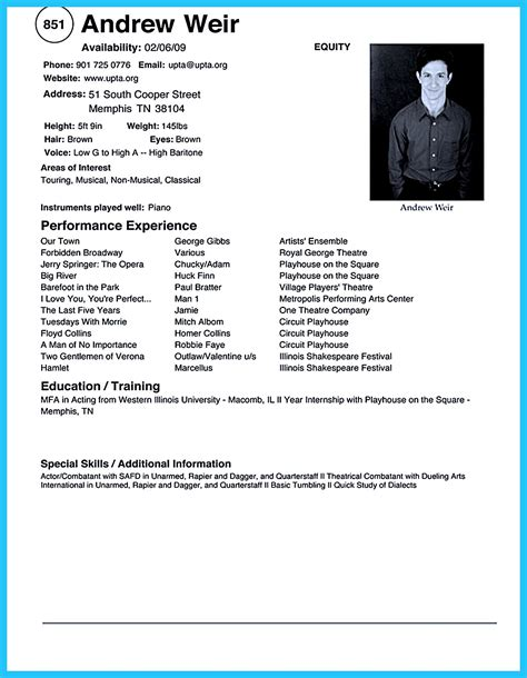 Additional Skills For Acting Resume Acting Resume Sle Presents Your Skills And Strengths In