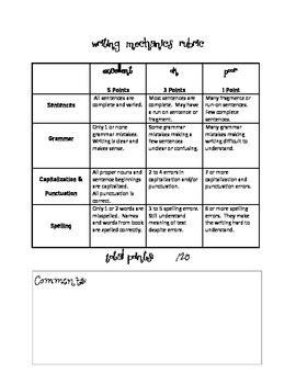 Grammar And Mechanics Worksheets by Writing Mechanics Rubric By Rehak Teachers Pay Teachers
