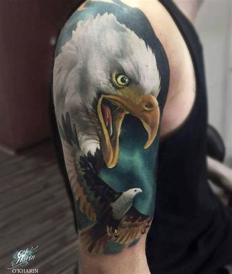 eagle head tattoo 3d eagle on half sleeve by o kharin
