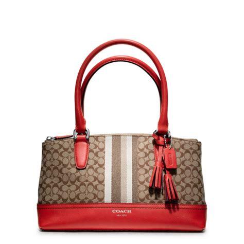 Coach Legacy Signature Cotton Shoulder Bag by Coach Legacy Signature Stripe Mini Rory Bag In Brown Sv