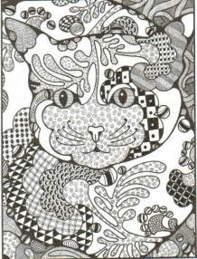 zentangle color zentangle cat arte coloring cats