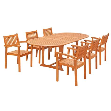 Wooden Patio Dining Set Vifah Eco Friendly 7 Wood Outdoor Dining Set With Oval Extension Table And Stacking Chairs