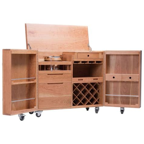 Expandable Bar Cabinet Mobile Expandable Bar Wine Cabinet In Cherrywood And Stainless Steel Naihan Li For Sale At 1stdibs