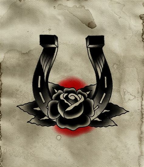 horseshoe rose tattoo horseshoe but with a i it