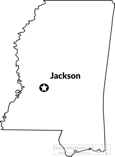 outline capital a us state black white maps clipart mississippi outline map