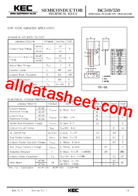 bc550 transistor equivalent bc550 datasheet pdf kec korea electronics