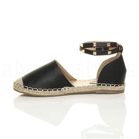 Wedges 5flat Fladeo womens flat studded ankle espadrilles summer shoes sandals size ebay