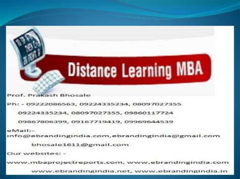 Mba Degree Distance Learning by Mba Project Report Of Symbiosis Centre For Distance Learning