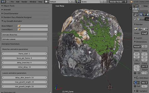blender tutorial addon ivy growth animator for blender creates a growing effect