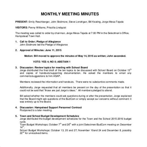 monthly meeting minutes template 42 free sle meeting minutes templates sle templates