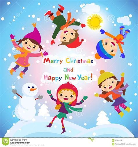 new year kid vector shiny vector background with snowman and