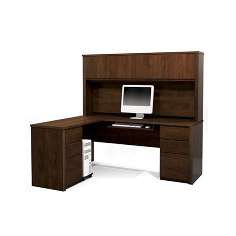 L Shaped Wood Computer Desk Bestar Prestige L Shape Wood Set W Hutch Chocolate Computer Desk Ebay