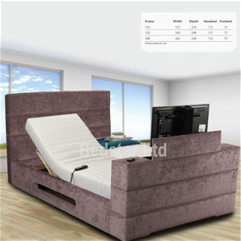 tv bed uk sweet dreams mazarine 6ft superking adjustable tv bed