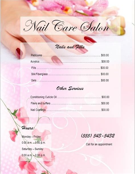 Free Nail Salon Price List Template