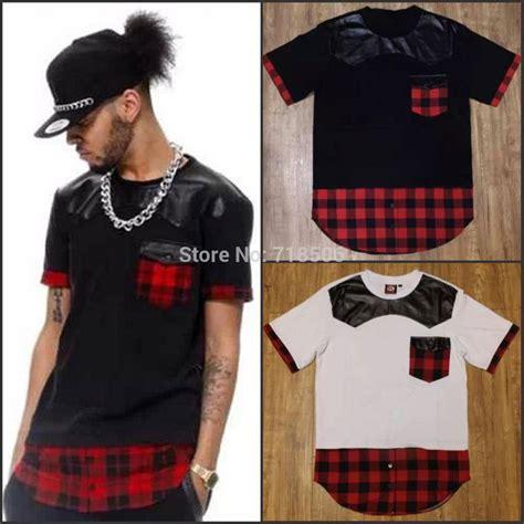 Tshirt Swag 2 hip hop plaid leather t shirt swag pullover t shirt