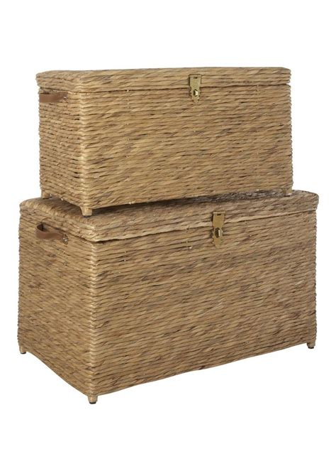 storage trunks for living room set of 2 large water hyacinth storage trunks matalan living rooms storage and trunks